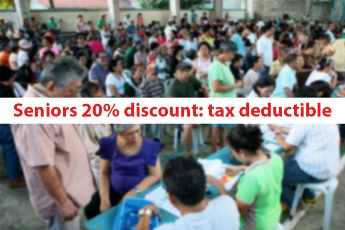 Seniors 20% discount: tax deductible
